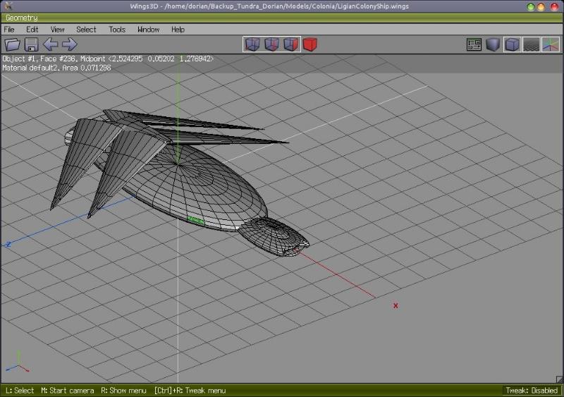 Ligian Colony Ship Wings3D Model