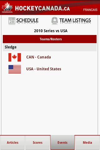 Events - Team Listings