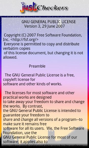 License Screen - Version 0.1.99