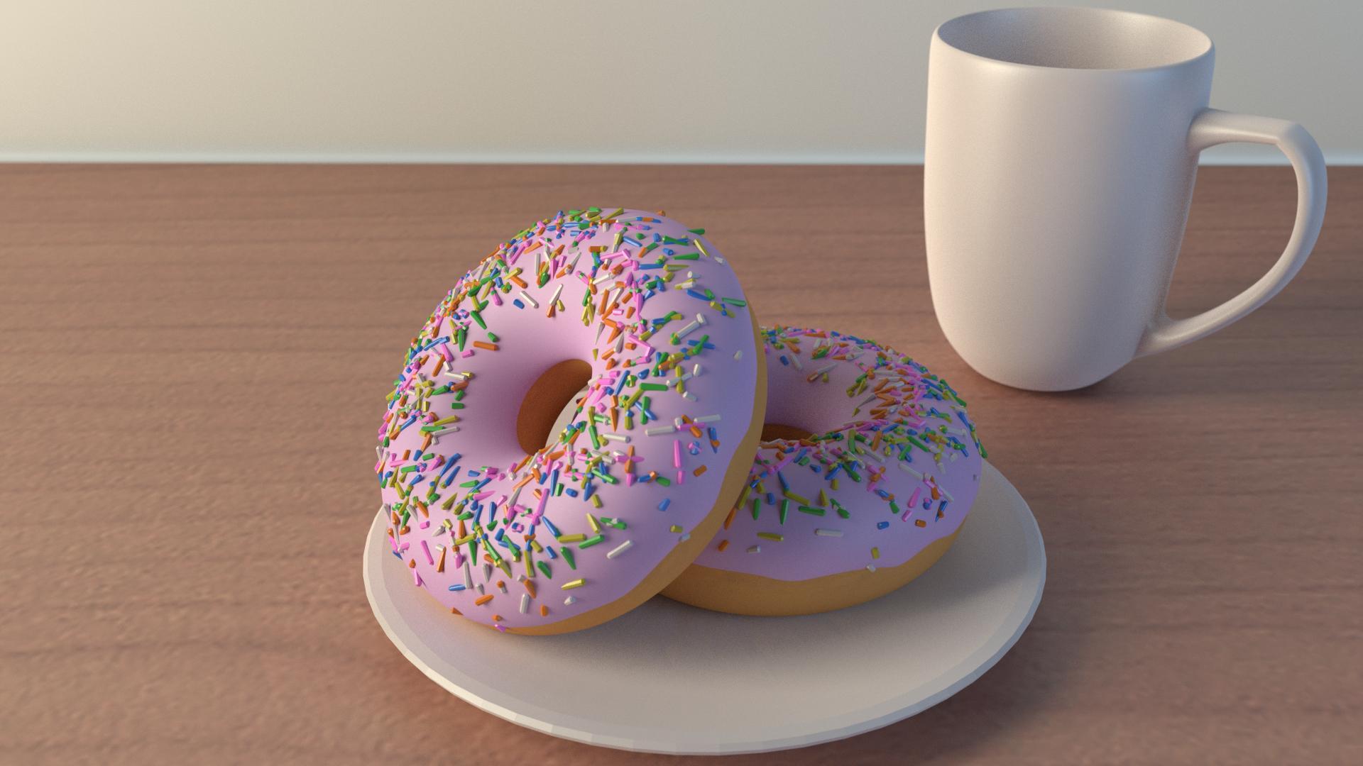 stunning blender doughnut scene with cuisine fly 3d. Black Bedroom Furniture Sets. Home Design Ideas